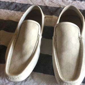 White Gucci canvas loafers